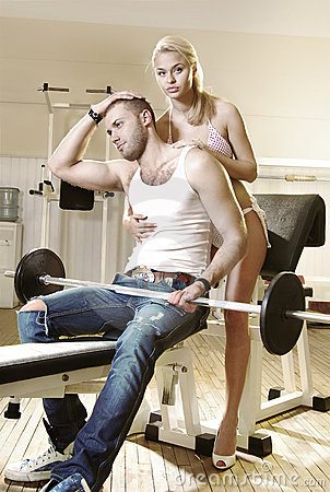 Couple in exercise room