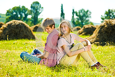 Couple in field