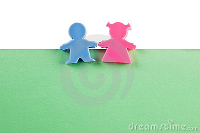 Couple figurine on blank paper