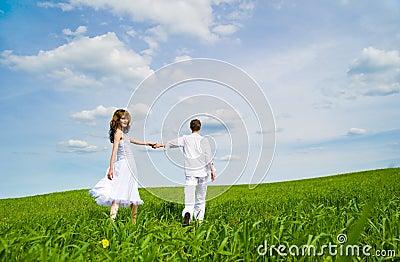 Couple in a flower field