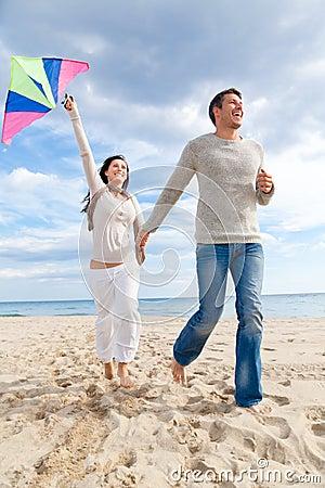 Couple fly kite