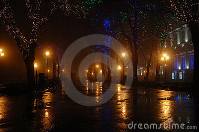 Couple at foggy night, Odessa,Ukraine