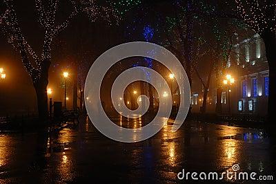 Couple at foggy night, Odessa,Ukraine