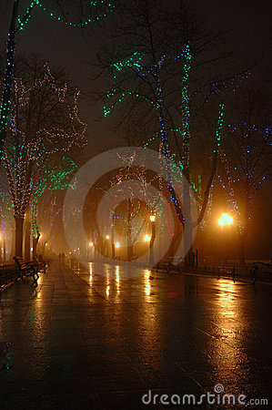 Couple at foggy night,Odessa ,ukraine