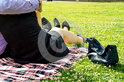 Couple in the Forties relaxing on the Park