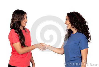 Couple of friends shaking hands