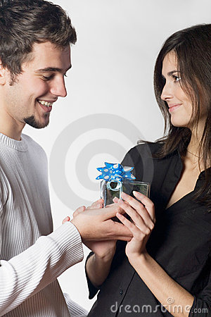 Couple with gift box