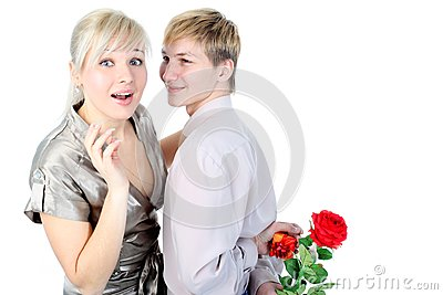 Couple with gift and flower