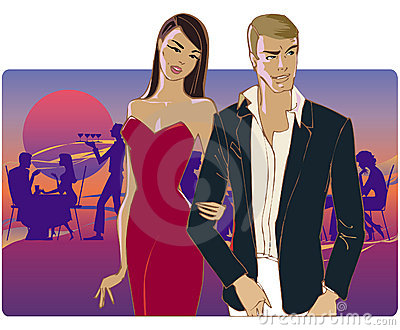 Couple going home from party