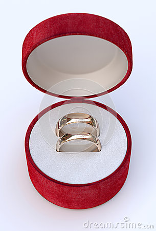 Golden Wedding Ring In It Box