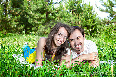 Couple on green grass