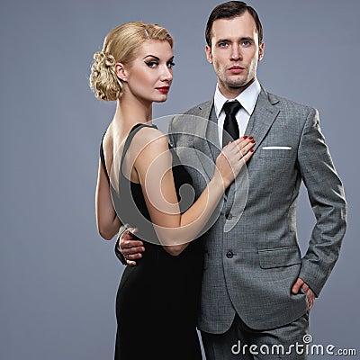 Couple  on grey