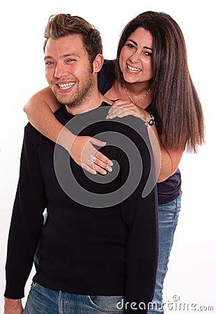 Couple guffawing