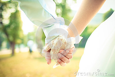Couple hand in wedding