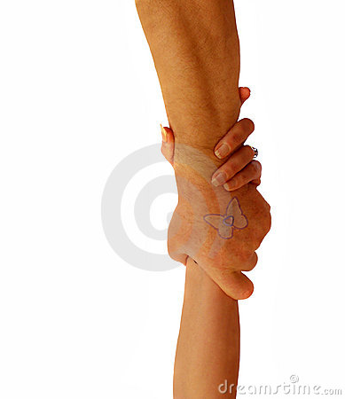 Couple with hands holding