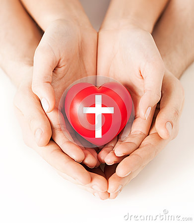 Free Couple Hands Holding Heart With Cross Symbol Stock Image - 43684081