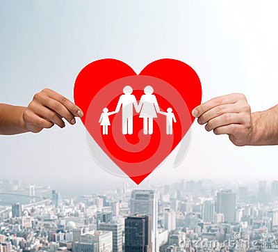 Free Couple Hands Holding Red Heart With Family Stock Photography - 43755132