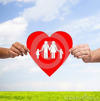 Free Couple Hands Holding Red Heart With Family Stock Images - 43844204