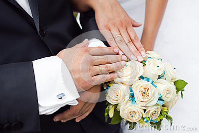 Couple hands on wedding