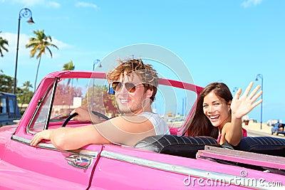 Couple happy in vintage retro car