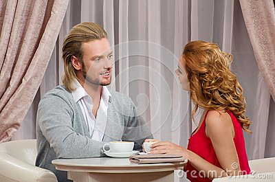 Couple have talking in restaraunt