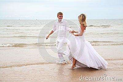 Couple having fun on a beach