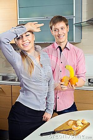 Couple having fun on a kitchen