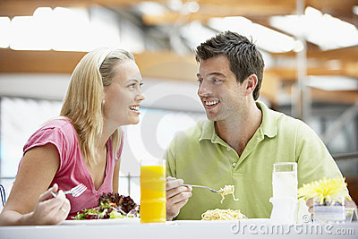 Couple Having Lunch At The Mall