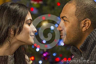 Couple having a romantic moment during holidays, horizontal