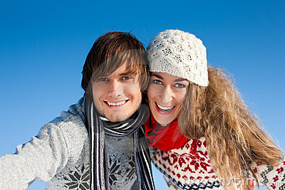 Couple having a winter walk
