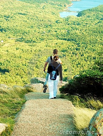 Couple Hiking At Acadia