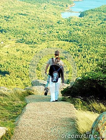 Couple Hiking At Acadia