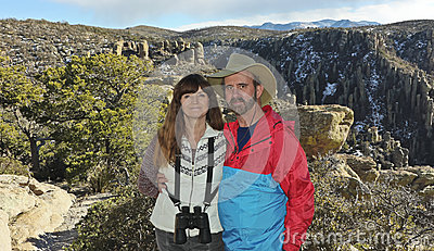 A Couple Hiking in the Chiricahua Mountains