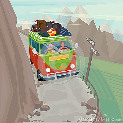 Couple in a hippie bus rides on the mountain serpentine Vector Illustration
