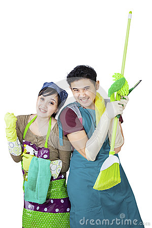 Couple hold cleaning tool on white