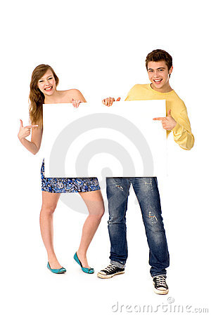 Couple holding blank poster
