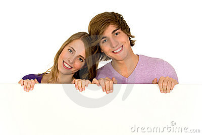Couple holding blank sign
