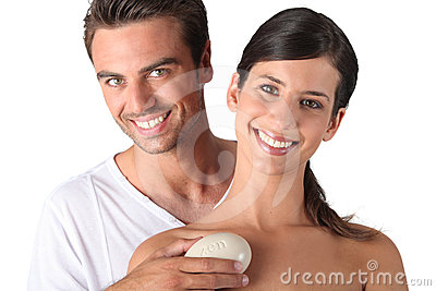 Couple holding pebble