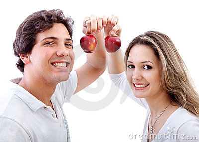 Couple holding some apples