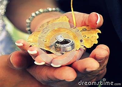 Couple holding wedding rings