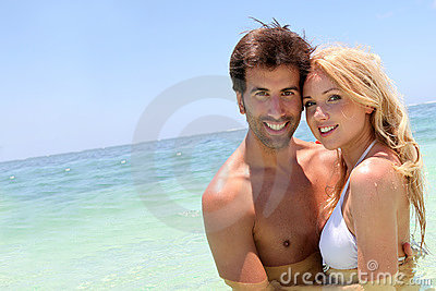 Couple on holidays at the beach