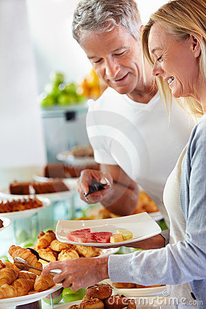 Couple at hotel buffet
