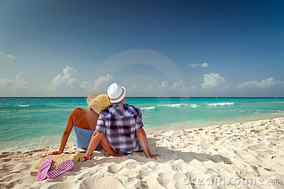 Couple in hug at the Caribbean Sea