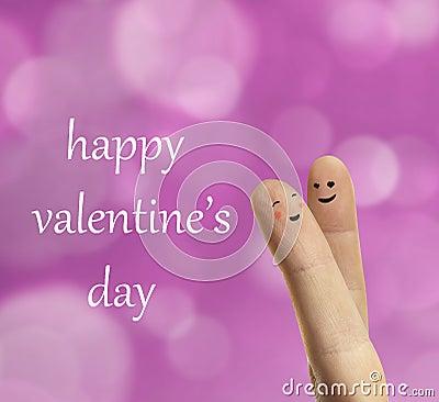 Couple hug of happy fingers smileys with love