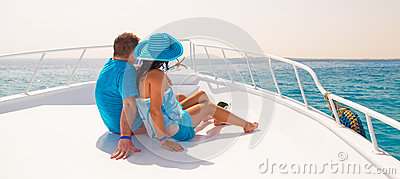 Couple in hug relaxing on the cruise