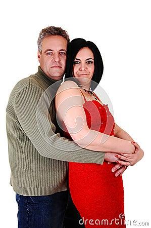 Couple hugging.