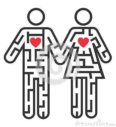 Couple icon as Maze of love Vector Illustration