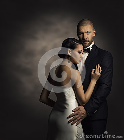 Free Couple In Black Suit And White Dress, Rich Man And Fashion Woman Royalty Free Stock Photo - 65521745