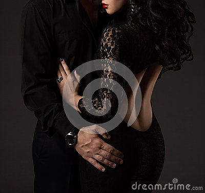 Free Couple In Black, Woman Man No Faces, Sexy Lady Lace Dress Royalty Free Stock Images - 65807739