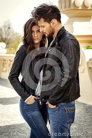Free Couple In Leather Jacket Stock Photo - 126709100